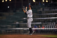 Quad Cities River Bandits relief pitcher Humberto Castellanos (29) celebrates a victory after a Midwest League game against the Fort Wayne TinCaps at Parkview Field on May 3, 2019 in Fort Wayne, Indiana. Quad Cities defeated Fort Wayne 4-3. (Zachary Lucy/Four Seam Images)