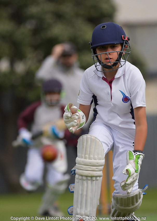 Action from the Wellington junior cricket year 7 match between Karori Tuis and Eastern Suburbs Moreporks at Miramar Park in Wellington, New Zealand on Saturday, 21 November 2020. Photo: Dave Lintott / lintottphoto.co.nz