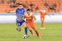 Houston, TX - Wednesday June 28, 2017: Carli Lloyd, Morgan Andrews battle for the ball during a regular season National Women's Soccer League (NWSL) match between the Houston Dash and the Boston Breakers at BBVA Compass Stadium.
