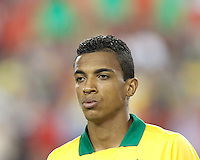 Brazil midfielder Luiz Gustavo (17). In an international friendly, Brazil (yellow/blue) defeated Portugal (red), 3-1, at Gillette Stadium on September 10, 2013.