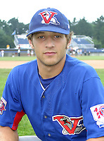 August 16, 2003:  Third baseman Kory Castro of the Vermont Expos, Short Season Class-A affiliate of the Montreal Expos, during a NY-Penn League game at Dwyer Stadium in Batavia, NY.  Photo by:  Mike Janes/Four Seam Images