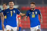 8th June 2021; Defensores del Chaco Stadium, Asuncion, Paraguay; Qatar 2022 qualifiers; Paraguay versus Brazil;  Neymar of Brazil celebrates his goal with Richarlison in the 4th minute 0-1
