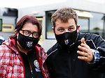 Heanor fans with branded masks. Hucknall Town v Heanor Town, 17th October 2020, at the Watnall Road Ground, East Midlands Counties League. Photo by Paul Thompson.