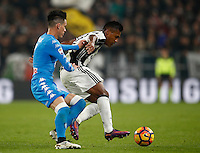 Calcio, Serie A: Juventus Stadium. Torino, Juventus Stadium, 29 ottobre 2016.<br /> Juventus' Alex Sandro, right, is challenged by Napoli's Jose' Maria Callejon during the Italian Serie A football match between Juventus and Napoli at Turin's Juventus Stadium, 29 October 2016. Juventus won 2-1.<br /> UPDATE IMAGES PRESS/Isabella Bonotto