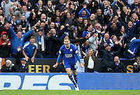 Marc Albrighton of Leicester City celebrates scoring his sides fourth goal during the Barclays Premier League match between Leicester City and Swansea City played at The King Power Stadium, Leicester on April 24th 2016