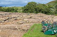 Northumberland,  England, UK.  Vindolanda Roman Fort, Current Excavations Ongoing.