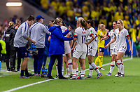 LE HAVRE,  - JUNE 20: USWNT head coach Jill Ellis talks to Tobin Heath #17 during a game between Sweden and USWNT at Stade Oceane on June 20, 2019 in Le Havre, France.
