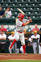 Clearwater Threshers right fielder Zachary Coppola (19) at bat during a game against the Bradenton Marauders on April 18, 2017 at LECOM Park in Bradenton, Florida.  Clearwater defeated Bradenton 4-2.  (Mike Janes/Four Seam Images)