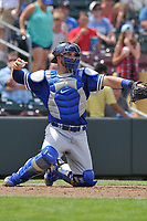 Oklahoma City Dodgers catcher Kyle Farmer (12) in action against the Omaha Storm Chasers at Werner Park on June 24, 2018 in Omaha, Nebraska. Omaha won 8-0.  (Dennis Hubbard/Four Seam Images)