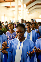BURKINA FASO , Gaoua, mass in catholic church / Messe in der katholischen Kirche