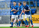 St Johnstone v Brechin….24.07.19      McDiarmid Park     Betfred Cup       <br />Matty Kennedy celebrates his goal with Danny Swanson<br />Picture by Graeme Hart. <br />Copyright Perthshire Picture Agency<br />Tel: 01738 623350  Mobile: 07990 594431