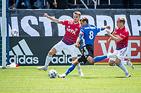SAN JOSE, CA - APRIL 24: Bressan #4 of FC Dallas  tries to prevent the shot of Chris Wondolowski #8 of the San Jose Earthquakes during a game between FC Dallas and San Jose Earthquakes at PayPal Park on April 24, 2021 in San Jose, California.