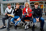 'Aftershock'  Kerry's newest rock band who plan to busk in Tralee and Killarney over the summer. L to r: Daragh and Conor Breen, Coren Hughes and  Seamus Fleming.