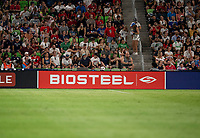 AUSTIN, TX - JUNE 16: BioSteel, sponsors during a game between Nigeria and USWNT at Q2 Stadium on June 16, 2021 in Austin, Texas.