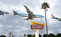 "There's always lines at ""In-N-Out"" burger shops and as I was watching planes landing at LAX, I had to set up by the sign and get a shot of a plane over the sign. Many flew too low, but I got a few good shots, including one of the last KLM 747s, then stitched together three for this fun shot."