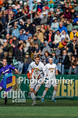 5 October 2019: University of Vermont Catamount Midfielder Daði Bærings Halldórsson, a Junior from Reykjavik, Iceland, in action against University at Albany Great Danes, on Virtue Field in Burlington, Vermont. The Catamounts fell to the visiting Danes 3-1 in America East, Division 1 play. Mandatory Credit: Ed Wolfstein Photo *** RAW (NEF) Image File Available ***
