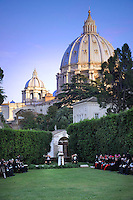 Pope Francis  with Palestinian leader Mahmud Abbas  and Israeli President Shimon Peres for a joint peace prayer in the gardens of the Vatican.June 8, 2014