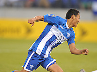 Andy Najar (14) of Honduras celebrates his score.  Honduras defeated Costa Rica 1-0 at the quaterfinal game of the Concacaf Gold Cup, M&T Stadium, Sunday July 21 , 2013.