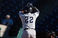Andres Chaparro (22) of the Hudson Valley Renegades at bat against the Greensboro Grasshoppers at First National Bank Field on September 2, 2021 in Greensboro, North Carolina. (Brian Westerholt/Four Seam Images)