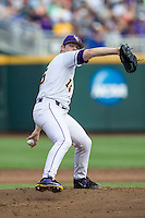 LSU Tigers pitcher Jared Poche (16) delivers a pitch to the plate against the TCU Horned Frogs in the NCAA College World Series on June 14, 2015 at TD Ameritrade Park in Omaha, Nebraska. TCU defeated LSU 10-3. (Andrew Woolley/Four Seam Images)