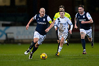 29th December 2020; Dens Park, Dundee, Scotland; Scottish Championship Football, Dundee FC versus Alloa Athletic; Charlie Adam of Dundee races away from Lee Connelly of Alloa Athletic