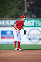 Williamsport Crosscutters shortstop Nick Maton (6) during a game against the Mahoning Valley Scrappers on July 8, 2017 at BB&T Ballpark at Historic Bowman Field in Williamsport, Pennsylvania.  Williamsport defeated Mahoning Valley 6-1.  (Mike Janes/Four Seam Images)