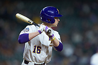 Collier Cranford (16) of the LSU Tigers at bat against the Texas Longhorns in game three of the 2020 Shriners Hospitals for Children College Classic at Minute Maid Park on February 28, 2020 in Houston, Texas. The Tigers defeated the Longhorns 4-3. (Brian Westerholt/Four Seam Images)