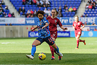 HARRISON, NJ - MARCH 08: Mina Tanaka #15 of Japan is marked by Keira Walsh #4 of England during a game between England and Japan at Red Bull Arena on March 08, 2020 in Harrison, New Jersey.