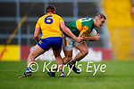 Stephen O'Brien, Kerry, in action against Sean Collins, Clare, during the Munster Football Championship game between Kerry and Clare at Fitzgerald Stadium, Killarney on Saturday.