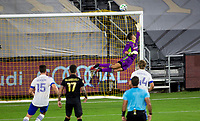 LOS ANGELES, CA - SEPTEMBER 02: Pablo Sisniega #23 GK of LAFC reaches for an arrant ball during a game between San Jose Earthquakes and Los Angeles FC at Banc of California stadium on September 02, 2020 in Los Angeles, California.