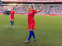 PHILADELPHIA, PA - AUGUST 29: Julie Ertz #8 of the United States stretches before kickoff prior to a game between Portugal and the USWNT at Lincoln Financial Field on August 29, 2019 in Philadelphia, PA.