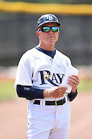 GCL Rays manager Jim Morrison (2) before a game against the GCL Red Sox on June 24, 2014 at Charlotte Sports Park in Port Charlotte, Florida.  GCL Red Sox defeated the GCL Rays 5-3.  (Mike Janes/Four Seam Images)