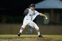 High Point-Thomasville HiToms relief pitcher Jacob Edwards (20) (UNC Asheville) in action against the Wilson Tobs at Finch Field on July 17, 2020 in Thomasville, NC. The Tobs defeated the HiToms 2-1. (Brian Westerholt/Four Seam Images)