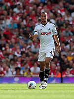 Pictured: Steven Caulker of Swansea City in action. Saturday 10 September 2011<br /> Re: Premiership Arsenal v Swansea City FC at the Emirates Stadium, London.