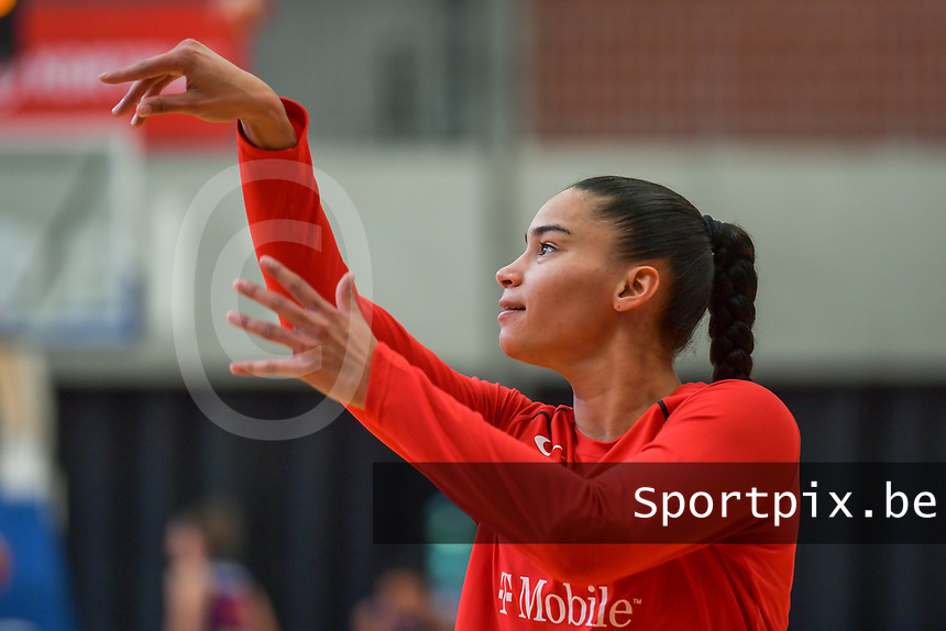 Tayra Melendez (1) of Puerto Rico pictured before a basketball game between the national teams of Puerto Rico and Serbia on Sunday 30 th of May 2021 in Kortrijk , Belgium . PHOTO SPORTPIX.BE | SPP | STIJN AUDOOREN