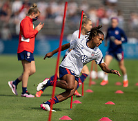 EAST HARTFORD, CT - JULY 5: Catarina Macario #19 of the USWNT warms up during a game between Mexico and USWNT at Rentschler Field on July 5, 2021 in East Hartford, Connecticut.