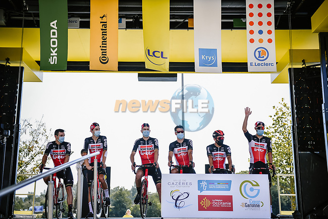 Lotto-Soudal at sign on before the start of Stage 8 of Tour de France 2020, running 141km from Cazeres-sur-Garonne to Loudenvielle, France. 5th September 2020.<br /> Picture: ASO/Pauline Ballet   Cyclefile<br /> All photos usage must carry mandatory copyright credit (© Cyclefile   ASO/Pauline Ballet)