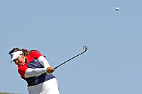 6th September 2021: Toledo, Ohio, USA;  Lizette Salas of Team USA hits her second shot on the first hole during her singles match in the Solheim Cup on September 6, 2021 at Inverness Club in Toledo, Ohio.