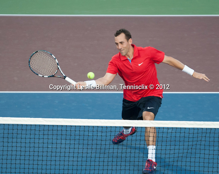 Bobby Reynolds of the Kastles plays at the World Team Tennis match between the Washington Kastles and the Boston Lobsters on July 16, 2012 in Washington, DC.