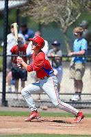 Philadelphia Phillies infielder Mitch Walding (16) during a minor league Spring Training game against the New York Yankees at Carpenter Complex on March 21, 2013 in Clearwater, Florida.  (Mike Janes/Four Seam Images)