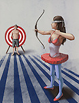 Illustrative image of woman targeting an arrow at man during act