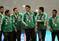 MEXICO CITY, MEXICO - AUGUST 15, 2012:  Members of  Mexico Olympic gold medalists honored at half time during an international friendly match against the USA at Azteca Stadium, in Mexico City, Mexico on August 15. USA won 1-0.