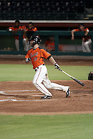 Kyle Drabek singles for his first hit with the AZL Giants in an Arizona League game against the AZL Diamondbacks at Scottsdale Stadium on July 27, 2016 in Scottsdale, Arizona. Drabek, a former first round pick and major league pitcher, signed with the Giants as a shortstop after being released by the Diamondbacks while pitching for their Triple-A affiliate in Reno. Drabek's hit in his third at-bat of the night came off reliever Jeremiah Muhammad in a game won by the Giants, 2-0 (Bill Mitchell)