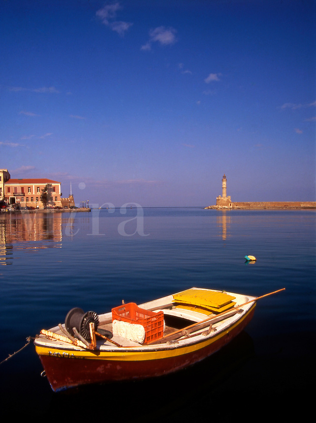 Greece Western Crete. Fishing boat in Chania harbor