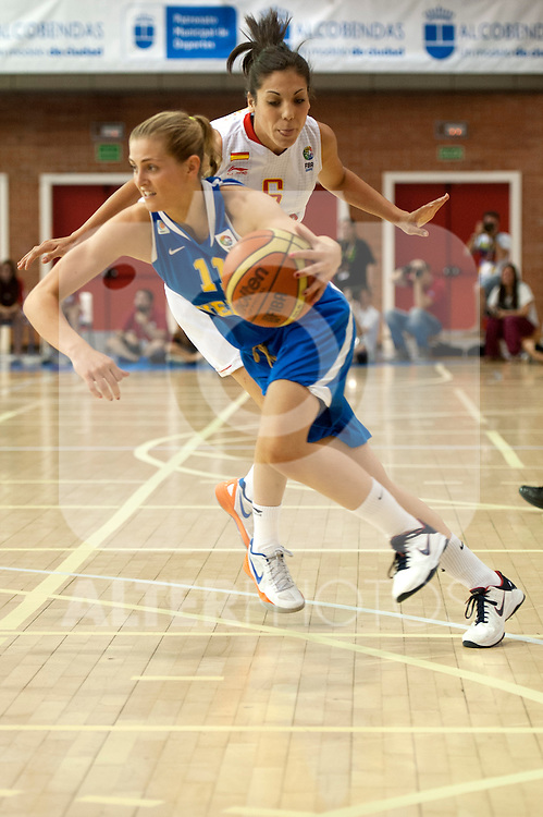 Spanish team´s Cristina Ouviña and Sweden team´s Martina Staalvant during Euro Basket Women Spain vs Swedenduring Euro Basket Women Spain vs Sweden