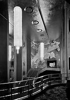 International Music Hall, Radio City, New York, New York. Foyer from balcony, December 9, 1932.<br /> <br /> Photo by Gottscho-Schleisner.