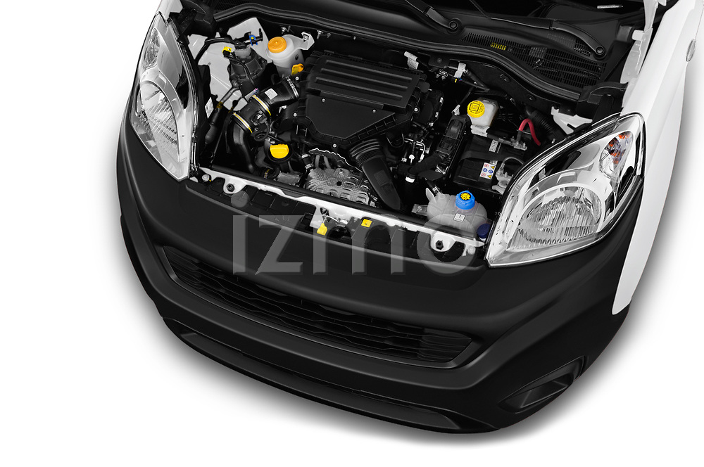 Car stock 2018 Fiat Fiorino Base 5 Door MPV engine high angle detail view