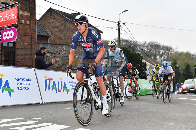 Louis Vervaeke (BEL) Alpecin Fenix leads the day's breakaway up the Mur de Huy during the 2021 Flèche-Wallonne, running 193.6km from Charleroi to Huy, Belgium. 21st April 221.  <br /> Picture: Serge Waldbillig | Cyclefile<br /> <br /> All photos usage must carry mandatory copyright credit (© Cyclefile | Serge Waldbillig)