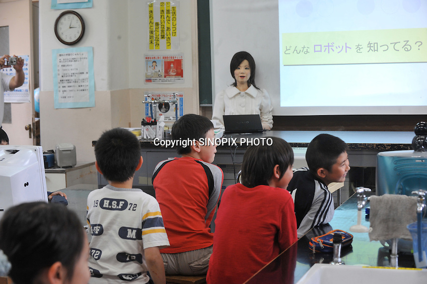 The world's first robot teacher, Saya, in a Tokyo pimary school, 7th May 2009. SAYA has been in development the for the past 15 years by Professor Hiroshi Kobayashi at the Dept. of Mechanical Engineering at Tokyo University of Science.  SAYA can talk and has a full range of facial expressions. Professor Hiroshi Kobayashi's study, at the Dept. of Mechanical Engineering at Tokyo University of Science.