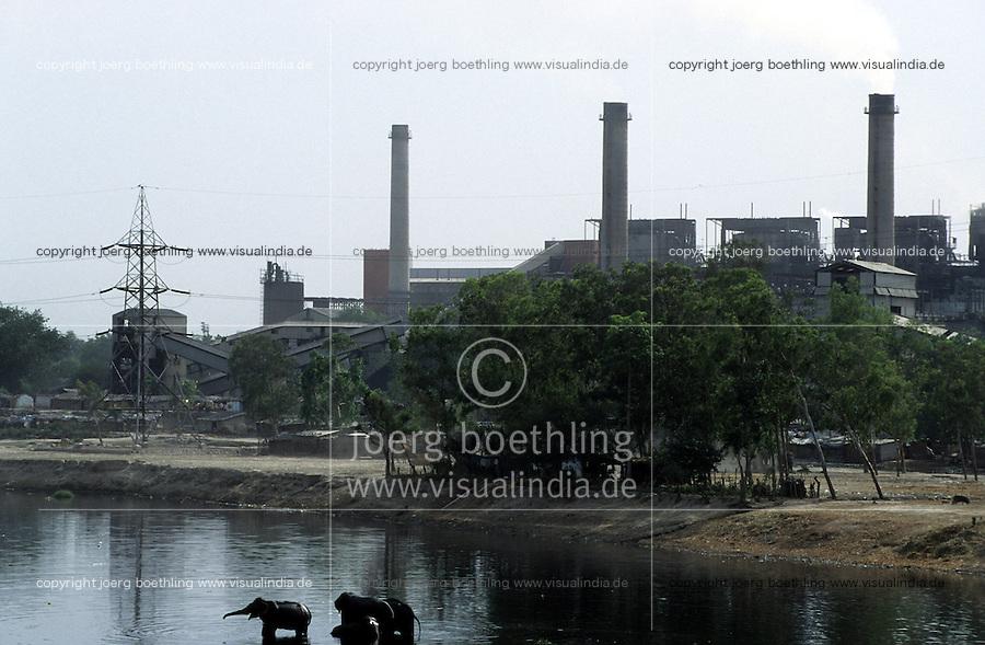 INDIA New Delhi, indian elephant in front of power station at Yamuna river / INDIEN Megacity Neu Dehli, Elefant vor Kraftwerk am verschmutzten Jamuna Fluss